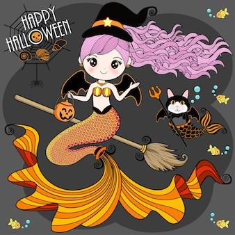 Une sirène portant un costume d'halloween