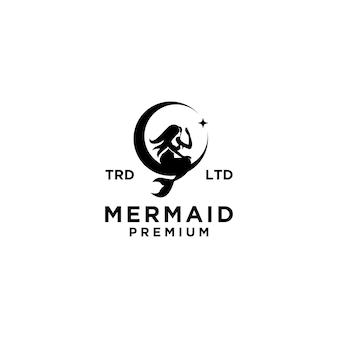 Sirène premium avec création de logo lune et étoile