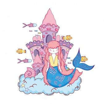 Sirène avec scène sous-marine du château