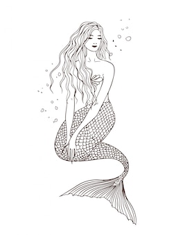 Sirène sous l'eau, vue de face, posture assise. illustration de contour dessiné à la main. belle naïade.