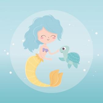 Sirène et tortue caricature de bulles sous l'illustration vectorielle de mer