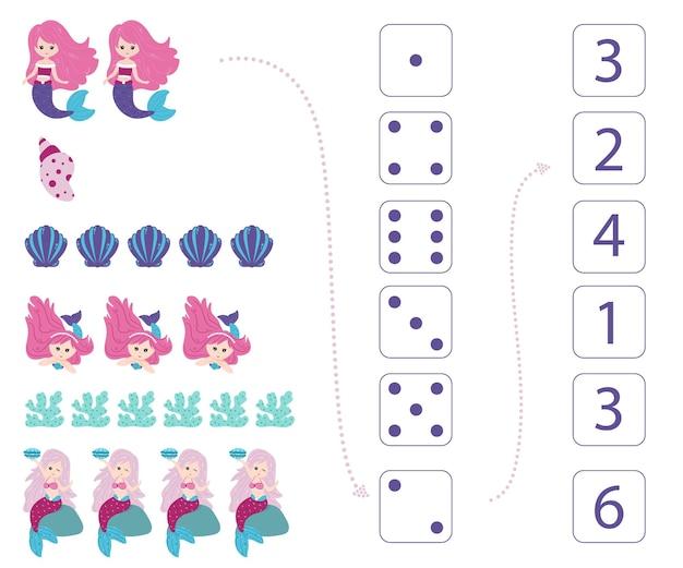 Sirènes. fiche de travail pour l'enseignement des mathématiques et de la numératie. pour les enfants d'âge préscolaire et les enfants de la maternelle. vecteur, style dessin animé.