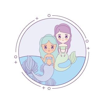 Sirènes mignonnes avec la mer dans le cadre circulaire