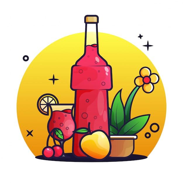 Sirop de bouteille et tasse