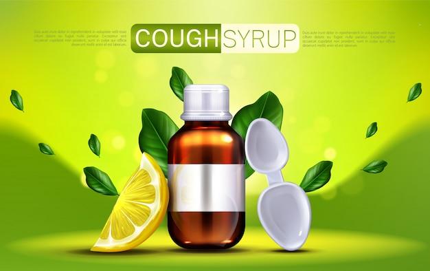 Sirop contre la toux avec bannière saveur citron
