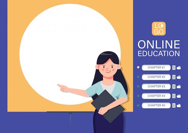 Site d'apprentissage en ligne sur fond d'apprentissage. application e-learning internet. caractère de l'enseignant pointant vers le tableau blanc.