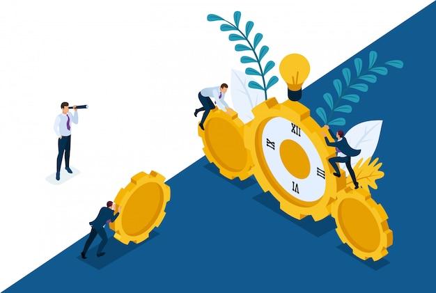 Site conceptuel lumineux isométrique le temps est venu d'agir. les hommes d'affaires grimpent sur l'horloge, la coopération pour le succès. concept pour la conception web