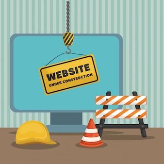 Site en construction avec ordinateur de bureau