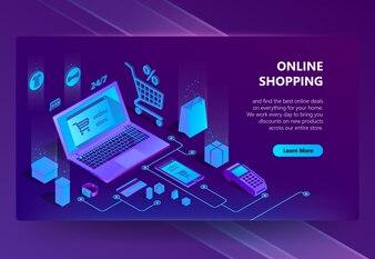 Site de commerce électronique isométrique 3d, boutique en ligne