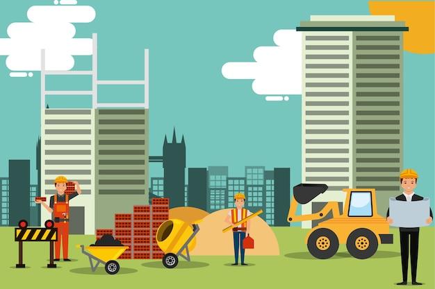 Site de personnes de construction avec des outils de machines illustration vectorielle de structure de bâtiments