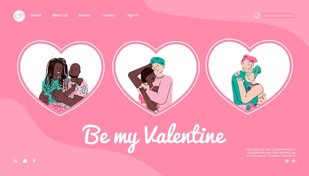 Site pour les événements de la saint-valentin avec illustration vectorielle de couples étreignants