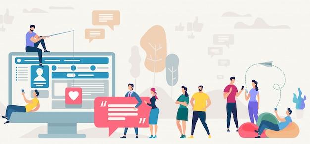 Site de réseau social. illustration vectorielle