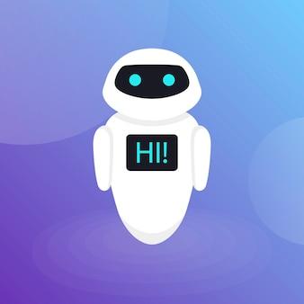 Site web d'assistance virtuelle de robot bot bot ou applications mobiles, illustration plate d'intelligence artificielle