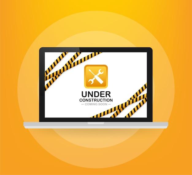 Site web en construction signe sur ordinateur portable