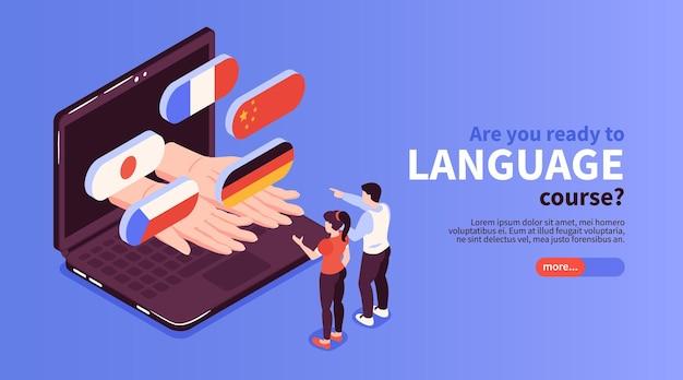 Site web de cours de langue en ligne avec des drapeaux de pays sortant de la bannière isométrique de l'écran d'un ordinateur portable