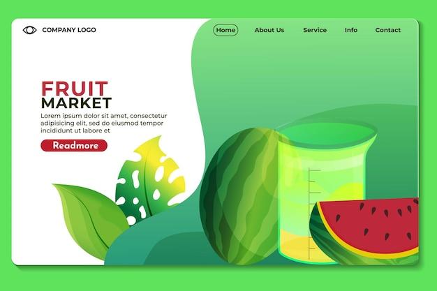 Site web du marché des fruits modèle de page de destination pour les sites web ou les applications design moderne
