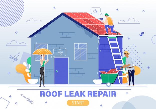 Site web du service de réparation qui fuit sur le toit