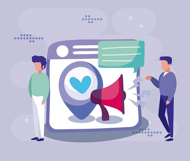 Site web hommes et mégaphone du concept de médias sociaux