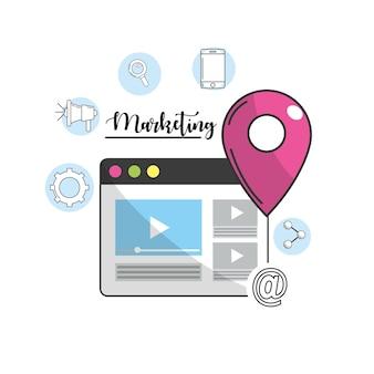 Site web avec des icônes de l'ubication et de la technologie