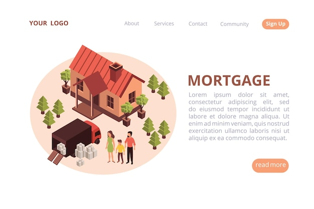 Site web isométrique de bannière web hypothécaire avec illustration ronde