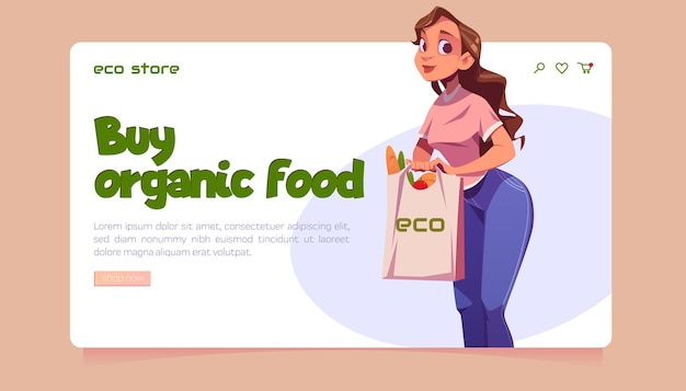 Site web d'un magasin écologique avec des aliments biologiques locaux