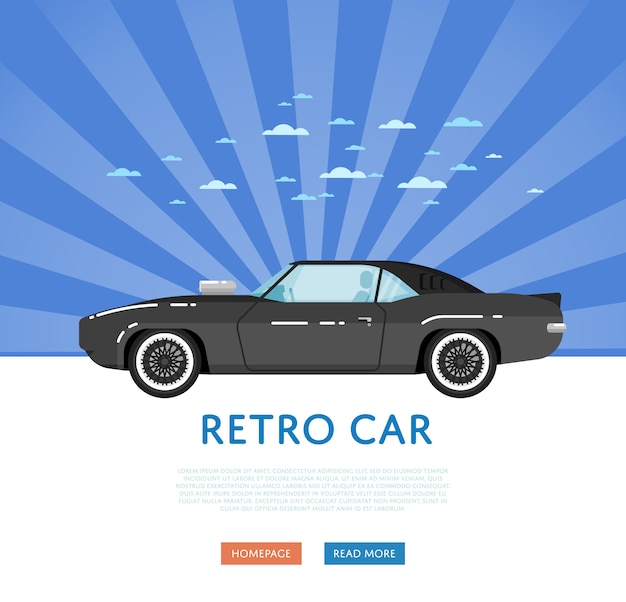 Site web avec muscle car classique
