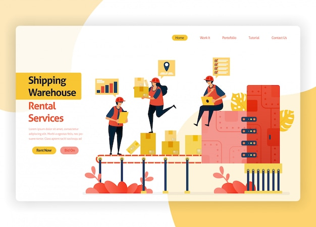 Site web de la page d'accueil pour les sociétés de services de location d'entrepôts, le transit de livraison, les ports, le fret aérien et les transports publics. entrepôt avec machines d'emballage de boîtes.