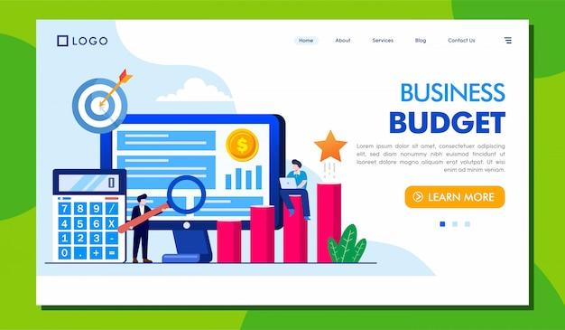 Site web de la page de destination du budget des entreprises