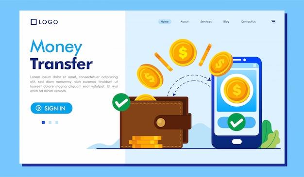 Site web de la page de destination du transfert d'argent