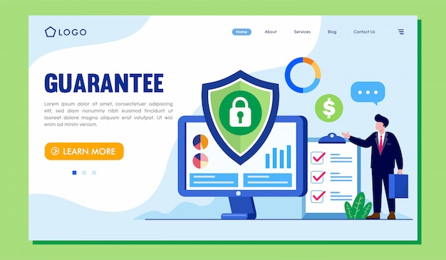 Site web de la page de destination de garantie