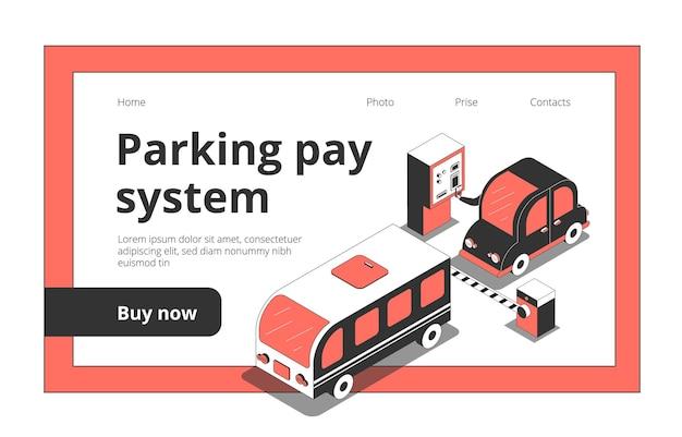 Site web de la page de destination avec des images isométriques de voitures et des liens cliquables avec du texte et des boutons