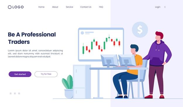 Site web de la page de destination des traders professionnels