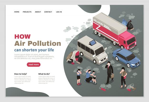 Site web sur la pollution atmosphérique avec symboles de transport urbain isométrique