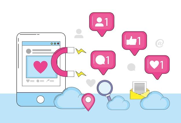 Site web pour smartphone et message social de chat