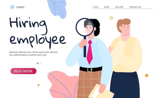 Site web de recrutement et d'embauche avec des responsables rh à plat isolé.