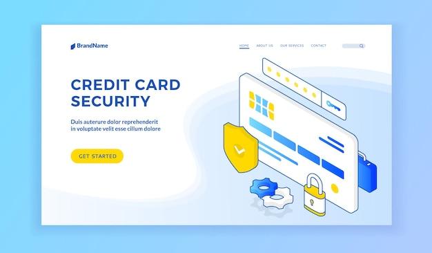 Site Web Sur La Sécurité Des Cartes De Crédit Vecteur Premium