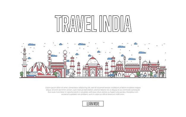 Site web de travel india dans un style linéaire