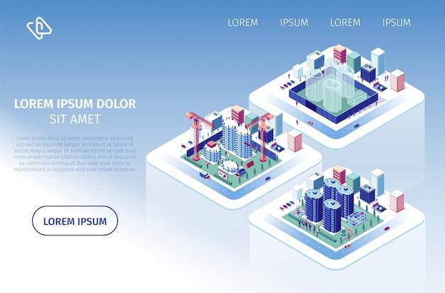 Site web vecteur de projet d'investissement dans la construction