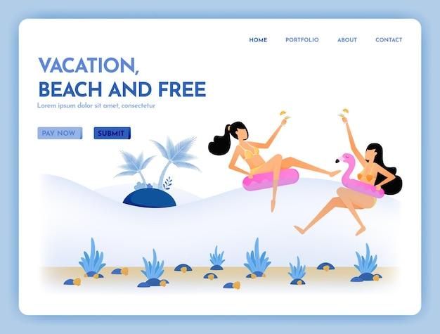 Site web de voyage de plage de vacances et de vacances ensemble dans la page de destination de la mer tropicale