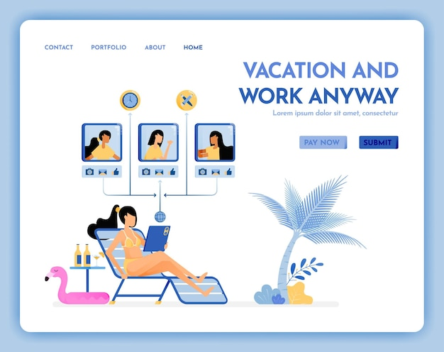 Site web de voyage de vacances faire une réunion virtuelle sur la page de destination de vacances