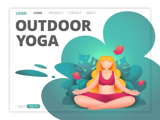 Site de yoga en plein air en style cartoon. modèle de page de destination.