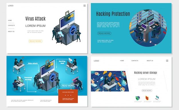 Sites web d'activité de pirate informatique isométrique avec mot de passe de l'ordinateur, centre de données de messagerie, virus de piratage, attaques de chevaux de troie, protection d'autorisation biométrique