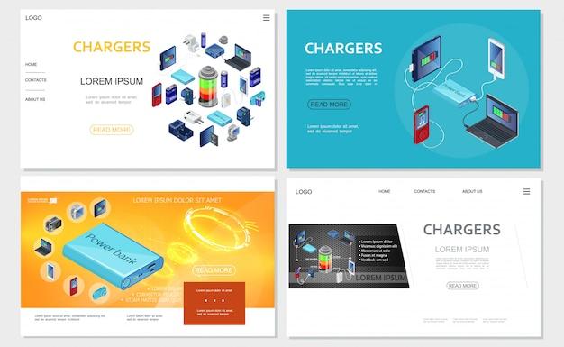 Sites web de chargeurs modernes isométriques avec batteries de banque d'alimentation sources de charge portables pour appareils électroniques