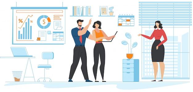 Situation de bureau et dessin animé communautaire de collègues