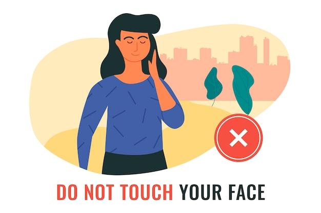 Situation, illustrant une femme touchant son visage pendant la propagation de l'infection à covid-19. ne touchez pas votre visage.