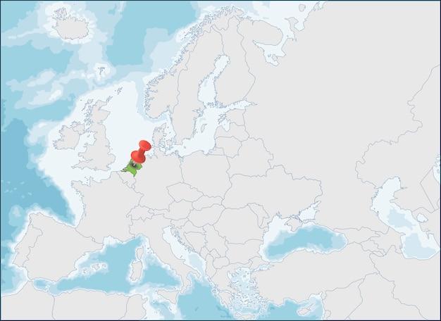 La situation des pays-bas sur la carte de l'europe