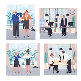 Situations de conflit au travail ensemble de scènes de concept