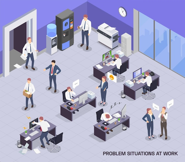 Situations problématiques au travail composition colorée isométrique avec espace ouvert et processus de travail