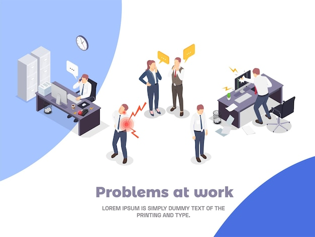 Situations problématiques au travail composition isométrique avec des problèmes au travail et différentes situations de stress