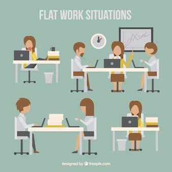 Les situations de travail dans un style plat